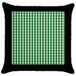 Christmas Green Velvet Large Gingham Check Plaid Pattern Throw Pillow Case (Black) Front