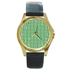 Christmas Green Velvet Large Gingham Check Plaid Pattern Round Gold Metal Watch by PodArtist
