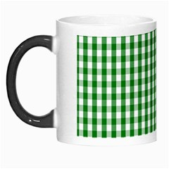 Christmas Green Velvet Large Gingham Check Plaid Pattern Morph Mugs by PodArtist