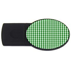 Christmas Green Velvet Large Gingham Check Plaid Pattern Usb Flash Drive Oval (4 Gb) by PodArtist