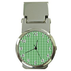 Christmas Green Velvet Large Gingham Check Plaid Pattern Money Clip Watches by PodArtist