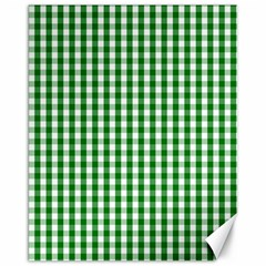 Christmas Green Velvet Large Gingham Check Plaid Pattern Canvas 16  X 20   by PodArtist