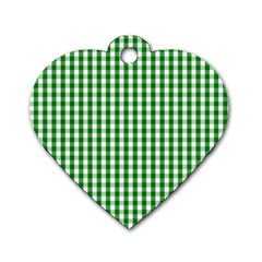 Christmas Green Velvet Large Gingham Check Plaid Pattern Dog Tag Heart (one Side) by PodArtist