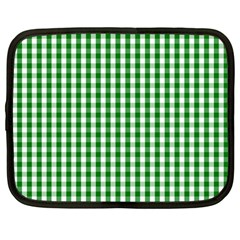 Christmas Green Velvet Large Gingham Check Plaid Pattern Netbook Case (large) by PodArtist
