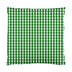 Christmas Green Velvet Large Gingham Check Plaid Pattern Standard Cushion Case (two Sides)