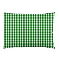 Christmas Green Velvet Large Gingham Check Plaid Pattern Pillow Case by PodArtist