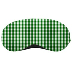 Christmas Green Velvet Large Gingham Check Plaid Pattern Sleeping Masks by PodArtist