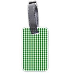 Christmas Green Velvet Large Gingham Check Plaid Pattern Luggage Tags (two Sides) by PodArtist
