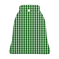Christmas Green Velvet Large Gingham Check Plaid Pattern Bell Ornament (two Sides) by PodArtist