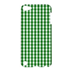 Christmas Green Velvet Large Gingham Check Plaid Pattern Apple Ipod Touch 5 Hardshell Case by PodArtist