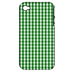Christmas Green Velvet Large Gingham Check Plaid Pattern Apple Iphone 4/4s Hardshell Case (pc+silicone)