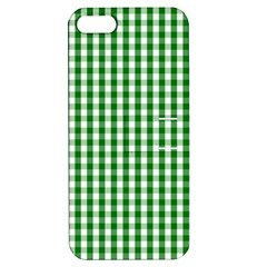 Christmas Green Velvet Large Gingham Check Plaid Pattern Apple Iphone 5 Hardshell Case With Stand by PodArtist