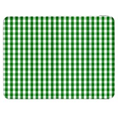 Christmas Green Velvet Large Gingham Check Plaid Pattern Samsung Galaxy Tab 7  P1000 Flip Case by PodArtist