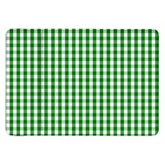 Christmas Green Velvet Large Gingham Check Plaid Pattern Samsung Galaxy Tab 8 9  P7300 Flip Case by PodArtist