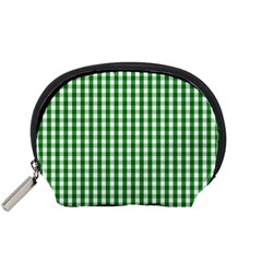 Christmas Green Velvet Large Gingham Check Plaid Pattern Accessory Pouches (small)  by PodArtist
