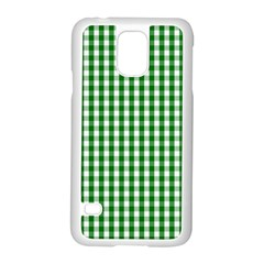 Christmas Green Velvet Large Gingham Check Plaid Pattern Samsung Galaxy S5 Case (white) by PodArtist
