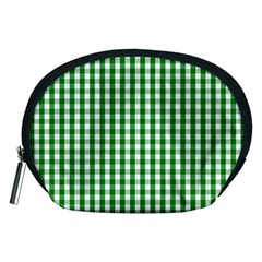 Christmas Green Velvet Large Gingham Check Plaid Pattern Accessory Pouches (medium)  by PodArtist