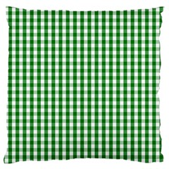 Christmas Green Velvet Large Gingham Check Plaid Pattern Large Flano Cushion Case (two Sides) by PodArtist
