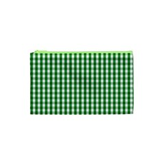 Christmas Green Velvet Large Gingham Check Plaid Pattern Cosmetic Bag (xs) by PodArtist