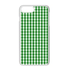 Christmas Green Velvet Large Gingham Check Plaid Pattern Apple Iphone 7 Plus White Seamless Case by PodArtist
