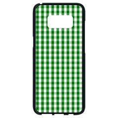 Christmas Green Velvet Large Gingham Check Plaid Pattern Samsung Galaxy S8 Black Seamless Case