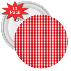 Christmas Red Velvet Large Gingham Check Plaid Pattern 3  Buttons (10 Pack)  by PodArtist