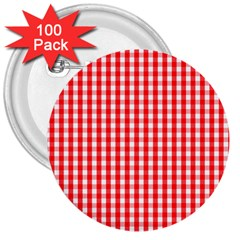 Christmas Red Velvet Large Gingham Check Plaid Pattern 3  Buttons (100 Pack)  by PodArtist