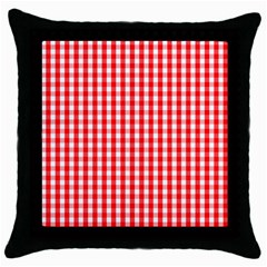 Christmas Red Velvet Large Gingham Check Plaid Pattern Throw Pillow Case (black) by PodArtist
