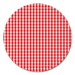 Christmas Red Velvet Large Gingham Check Plaid Pattern Magnet 5  (round) by PodArtist