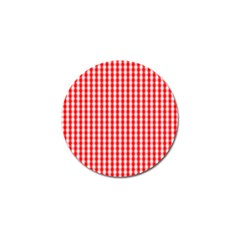 Christmas Red Velvet Large Gingham Check Plaid Pattern Golf Ball Marker (4 Pack) by PodArtist