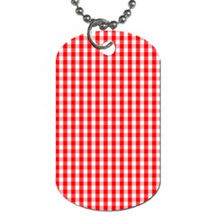 Christmas Red Velvet Large Gingham Check Plaid Pattern Dog Tag (two Sides) by PodArtist