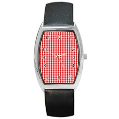 Christmas Red Velvet Large Gingham Check Plaid Pattern Barrel Style Metal Watch by PodArtist