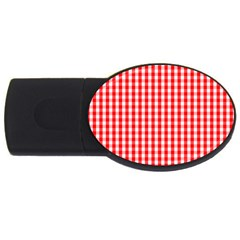 Christmas Red Velvet Large Gingham Check Plaid Pattern Usb Flash Drive Oval (4 Gb) by PodArtist