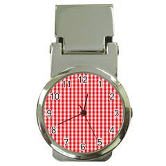 Christmas Red Velvet Large Gingham Check Plaid Pattern Money Clip Watches by PodArtist