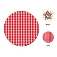 Christmas Red Velvet Large Gingham Check Plaid Pattern Playing Cards (round)  by PodArtist
