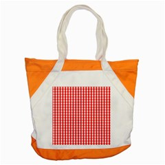 Christmas Red Velvet Large Gingham Check Plaid Pattern Accent Tote Bag