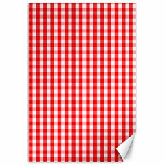 Christmas Red Velvet Large Gingham Check Plaid Pattern Canvas 20  X 30   by PodArtist