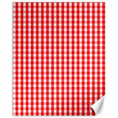 Christmas Red Velvet Large Gingham Check Plaid Pattern Canvas 11  X 14   by PodArtist