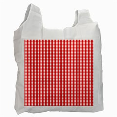 Christmas Red Velvet Large Gingham Check Plaid Pattern Recycle Bag (one Side)