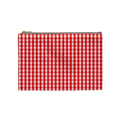 Christmas Red Velvet Large Gingham Check Plaid Pattern Cosmetic Bag (medium)  by PodArtist