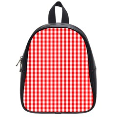 Christmas Red Velvet Large Gingham Check Plaid Pattern School Bags (small)  by PodArtist