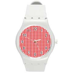 Christmas Red Velvet Large Gingham Check Plaid Pattern Round Plastic Sport Watch (m) by PodArtist