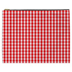 Christmas Red Velvet Large Gingham Check Plaid Pattern Cosmetic Bag (xxxl)  by PodArtist