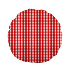 Christmas Red Velvet Large Gingham Check Plaid Pattern Standard 15  Premium Round Cushions by PodArtist