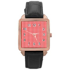 Christmas Red Velvet Large Gingham Check Plaid Pattern Rose Gold Leather Watch  by PodArtist