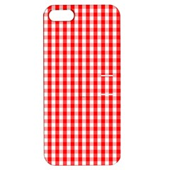 Christmas Red Velvet Large Gingham Check Plaid Pattern Apple Iphone 5 Hardshell Case With Stand by PodArtist