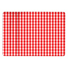 Christmas Red Velvet Large Gingham Check Plaid Pattern Samsung Galaxy Tab 10 1  P7500 Flip Case by PodArtist