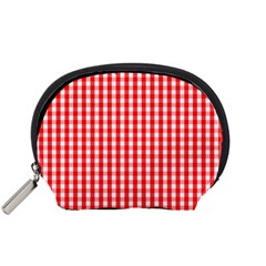 Christmas Red Velvet Large Gingham Check Plaid Pattern Accessory Pouches (small)  by PodArtist