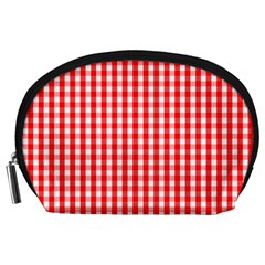 Christmas Red Velvet Large Gingham Check Plaid Pattern Accessory Pouches (large)  by PodArtist