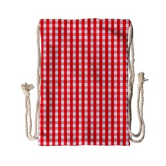 Christmas Red Velvet Large Gingham Check Plaid Pattern Drawstring Bag (small) by PodArtist